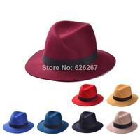 2014 Brand New Fashion women 100% wool autunm summer Fedora hat Felt Hats Floppy Derby Trilby Cap Headwear In Stock