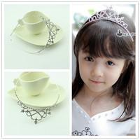 2014 Hot Sale Wholesale Children Rhinestone Heart Headband Metal Princess Flower Crown Tiara Girl Hairband Kids Hair Accessories