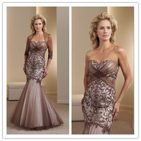 Fashion Sweetheart Mermaid Bridesmaid Dresses Gorgeous Embroidery Knitted Floor-Length Adult Prom Dress cc026