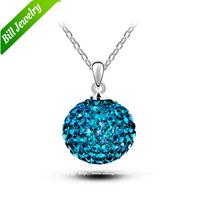 Wholesale Lots Zinc Alloy Blue Austria Crystal Ball Shambhala Bead Pendant Necklace 3100