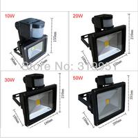 Promotion PIR Motion Sensor LED flood light high quality projector light 10W 20W 30W 50W free shipping