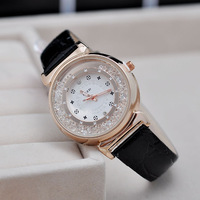 2014 New Fashion Ladies Quartz Watch Women Rhinestone Watches Analog 18K Gold Plated Dial Stylish watch PU Wristwatches B108
