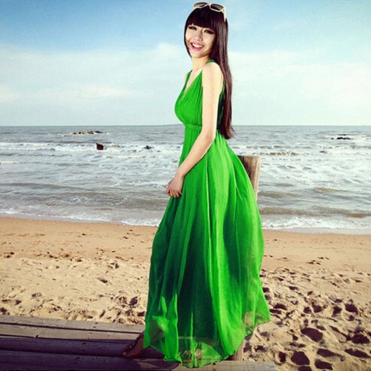 Free Shipping Summer New Dress For Women European And American Style Beach Bohemian Chiffon Dress(China (Mainland))