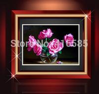 Needle 5D DIY round resin diamond painting crystal non-full embroidery diamond Rose flower cross stitch 64x50cm