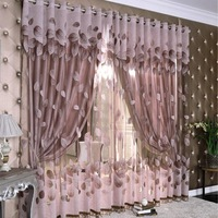 Cloth custom home living room bay window curtains finished bedroom curtains Jacquard yarn grade gilt leaves love