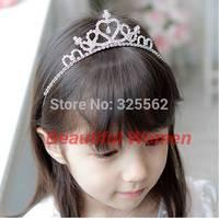 10pcs/lot New 2014 Girls Accessories Rhinestone Princess Crown Headband Tiara Hair Sticks Girls Headwear Silvery b10 sv001649 3F