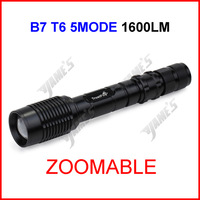 ( 30 pcs/lot ) B7 Black TrustFire XML-T6 Zoomable Focus LED 1600lumen Waterproof 18650 Camp Bicycle Flashlight Torch 5Modes