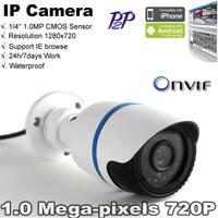 Free shipping Waterproof 1280x720P 1.0Megapixel Indoor/Outdoor HD Onvif IR-Cut  P2P Security Network IP Bullet Camera