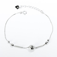 GNJL0005 Genuine 925 Sterling Silver Bracelet Fashion Women Jewelry 925 Silver Lucky Beads Chain Anklet Jewerlry Free Shipping