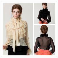 S-XL 2014 new runway autumn fashion vintage sweet lady princess royal court chiffon ruffles bow design tops blouse shirt