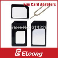 Eloong Nano Sim Card Adapters + Micro Sim + Stander Sim Card SIM Card & Tools For Iphone 4 / 4S/ 5 With Retail Box P021