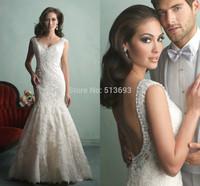 Elegant Romantic V-neck Sleeveless Mermaid Girls Bridal Dress High Quality Vestidos De Novia Wedding Dresses 2014 LACE