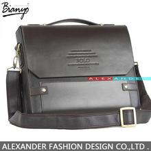Factory Outlet designer brand 2014 new men's leather shoulder bag, men messenger bag,leather briefcase men,POLO laptop bag,brown(China (Mainland))