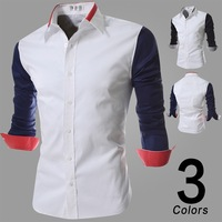2014 New Arrival Fashion Personality Buttons Men's Dress Shirt High Quality Solid Color Long-Sleeved Casual Shirt Men