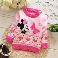 2014 autumn children cotton appliques t shirt girl longsleeve sweater kid cute Minnie top knit brand new clothing 3pcs/lot