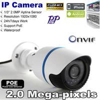 Free shipping Full HD ONVIF1080P 2.0 Megapixel Security Camera IR-Cut 960H CMOS Sensor Waterproof IP Camera Support PoE