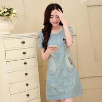 2014 new Korean retro short sleeve large size women wear white washed denim skirt summer leisure package hip dress