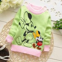 2014 autumn children cotton brand new t shirt girl longsleeve sweater kid Minnie top knit diamond appliques clothing 3pcs/lot