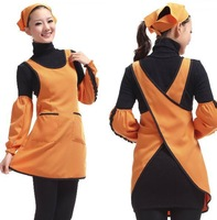 Free shipping best selling Fashionable Orange adult cooking apron for women cooking tool Kitchen apron Craft Clean cute apron