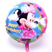 "Pink Happy Birthday Party Decoration Minnie balloon  Baby Kids Cartoon Balloons Gift  10pcs/lot  18"""