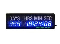1.8'' High 9Digit Blue Metal Case Indoor LED Countdown Wall Clock Countdown Up Days Setting By Wireless Remote For Special Event