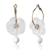 Min order $10(mix order)Free Shipping!Korean Fashion Earrings frosted flower Austria  clip anti allergic ear jewelry