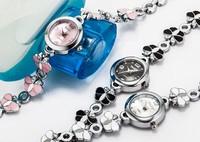 Lovely Korean Style Butterfly Bracelet Quartz Watch for Women Delicate Enamel Stainless Steel Bangle Timepiece Vogue Clock NW411
