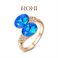 2014 Freeshipping Party Rings For Anel Roxi Exquisite Rose-gold Plated Double Rings,fashion Jewelry,factory Price,chirstmas Gift