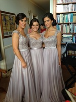 New Arrival  Vestidos De Fiesta 2014 Silver Satin Chiffon Emboridered Beaded Cap sleeves Long Bridesmaid Dresses