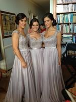 New Arrival  Vestidos De Fiesta 2014 Silver Satin Chiffon Emboridered Beaded Cap sleeves Long Bridesmaid Dresses