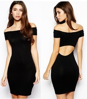 free shipping 2014 New arrivals sexy woman black Halter strapless fashion lady party dress hot sale fashion style