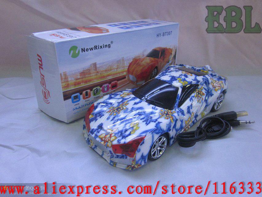 10pcs/lot Wholesales Portable Audi mini Car Shaped Speaker MP3 Player Music Box TF/Micro SD Card +FM Radio free shipping(China (Mainland))