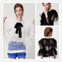 H&Q 2014 new runway autumn fashion vintage princess royal court lace gauze patchwork bow design chiffon tops blouse shirt S,M,L