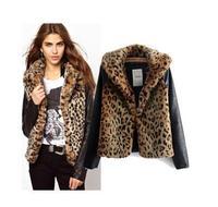 Women Winter Coats Famous Brand Fur Coats Fashionable Leopard Patchwork Faux Fur Vest Lady's Outerwear Full Sleeve Jackets Women