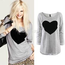 070 camisa 2014 da forma t para mulheres coração tops camisola calções de manga longa t-shirt feminina mais tamanhos tee roupas outono verão(China (Mainland))