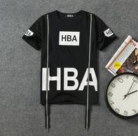 Free Shipping The Fashion Double zipper short sleeved T-shirt High explosive HBA Quan Zhilong men's shirts from Bravewong