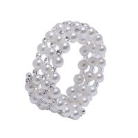 Three Rows Fauxl Crystal Rhinestone Pearls Party Pageant Bridal Bracelet In Store Wedding Accessory