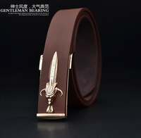 2014 Luxury Men Belt Buckle Sword Famous Brand Men Belt Leather for Cool Gift