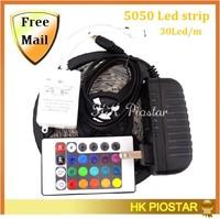 Free Shipping 5050 Led Strip Non-Waterproof 30LED/M 150Led LED Strip Light Lamp Warm white Cold white RGB