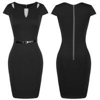 2015 Women Dress  Back Zipper Cut Out Cap Sleeve  Dress Slim Fitted  Vintage Office Lady Dress