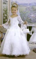 2014Elegant A Line White Off Shoulder V Neck Lace Flower Girl Dress Ball Gown Long Sleeves First Communion Dresses