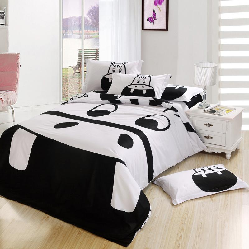 black and white hippo print kids cartoon bedding comforter bedroom