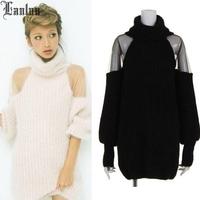 Lanluu Elegant 2014 Autum & Winter Casual Mash Off Shoulder Sexy Long Sweaters Women Coat SQ499