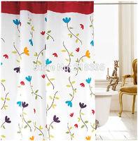 Flower shower curtain thick thickening shower curtain fashion terylene waterproof shower curtain bathroom curtain belt