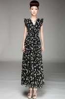 Women 2014 Summer Sexy Deep V-neck Cherry Printed Double Layer Ruffled Chiffon Long Bohemian Maxi Dress