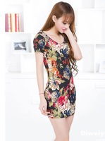 2014 new summer Girls Long T-shirt bottoming big flower dress sexy package hip Slim shipping