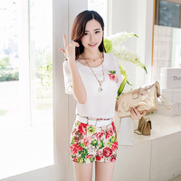 Free shipping The new summer 2014 printed chiffon small pure and fresh and leisure female shorts hot pants Women summer dress
