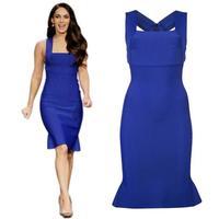 2014 New Women's Lady Fashion Sleeveless Long Slim Party vestido Dress Women Summer Blue Bandage Dress