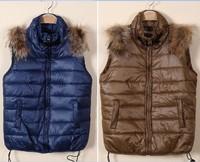 2014 new women's down jacket shelves, down cotton vest fox fur vest shoulder free shipping