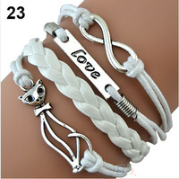 Min order is $10(mix order)Mix Infinity Anchor Rudder leather love 8 white bike charm handmade friendship bangle for women BZ023